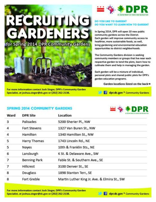 DPR Community Gardens - Gardeners for Spring 2014