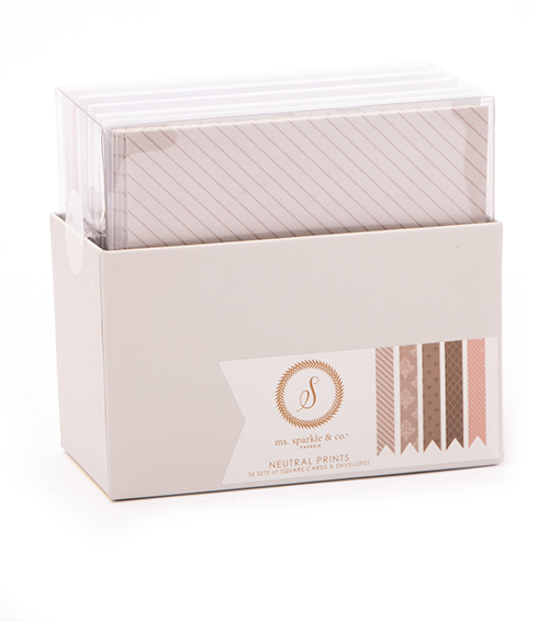 BOX CARD AND ENVELOPE - SQUARE NEUTRALS PRINTS