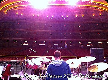 Jue Russo behind his new kit at Soundcheck