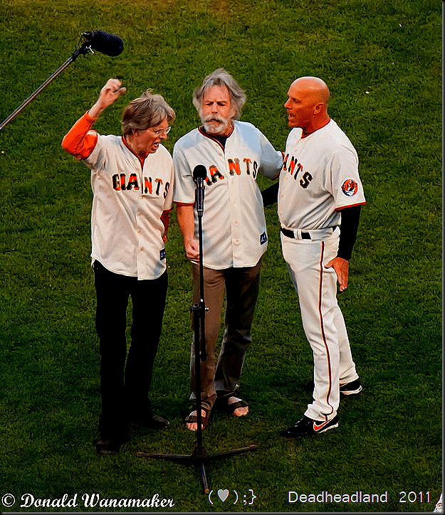 "Bob Weir, Phil Lesh & JC Juanis from Furthur with Carolyn ""Mountain Girl"" Garcia, Trixie Garcia (1st pitch!) , Mickey Hart and Bill Walton 7th inning stretch, all at AT & T Park, Celebrating Jerry Garcia Day and Dancing Bear Night! The Giants third base coach, Tim Flannery sings with Phil & Bobby,"