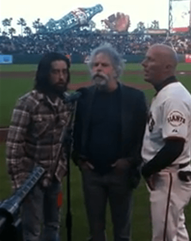 Bob Weir, Jackie Greene, Tim Flannery sing the National Anthem at AT&T Park on Jerry Garcia's 70th birthday August 1, 2012