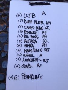 Phil Lesh and the Terrapin Fmaily band handwritten setlist