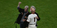 Video: Grateful Dead's Bob Weir & Phil Lesh sing National Anthem with @SFGiants coach Tim Flannery October 12, 2014 g GIANTS WIN!
