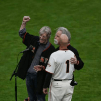 BETTER VIDEO! Bob Weir, Phil Lesh, Tim Flannery 3-0  - winning team sings Star Spangled Banner for @sfgiants win!