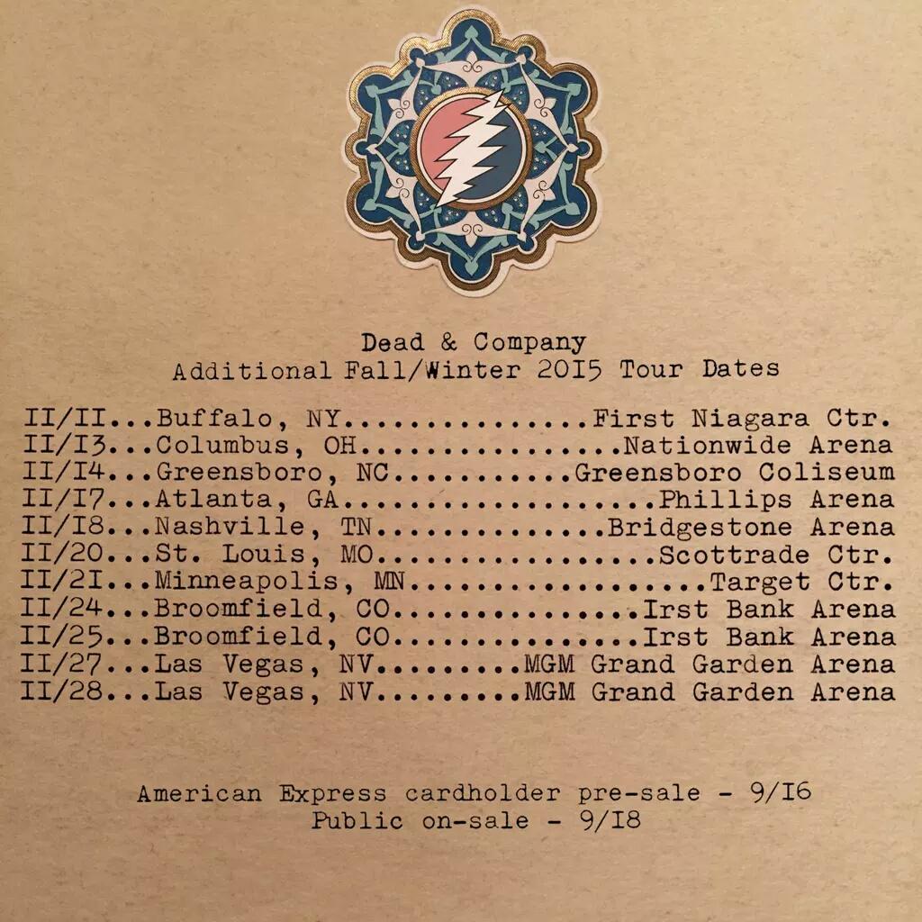 More FALL TOUR! Dead & Company add more dates, Buffalo, Columbus, Nashville, St. Louis, Broomfield, Las Vegas