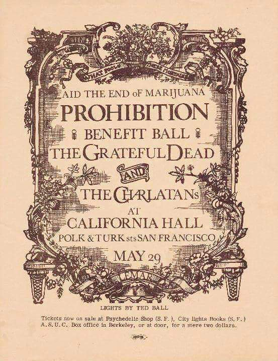 POSTER from the Past: End Marijuana Prohibition w Grateful Dead &  The Charlatans, May  29 1966