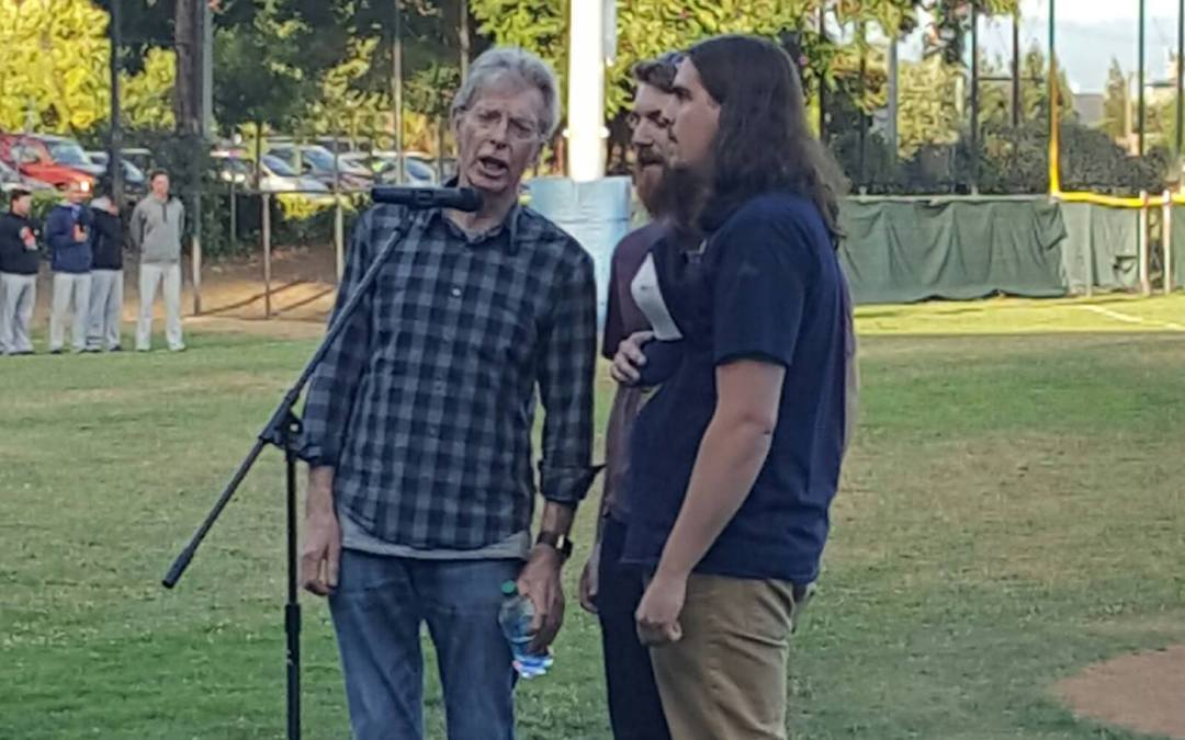 DHL-TV Exclusive Video: Phil Lesh and Friends sings Star Spangled Banner at San Rafael Pacifics 2016 Home Opener