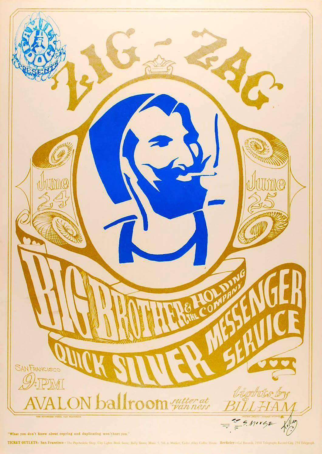 POSTER FROM THE PAST: Zig-Zag Man, Big Brother and the Holding Company, Quicksilver Messenger Service, June 24 & 25 1966, Avalon Ballroom