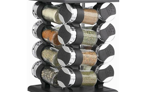17 Piece Revolving Carousel Spice Rack With Glass Jars