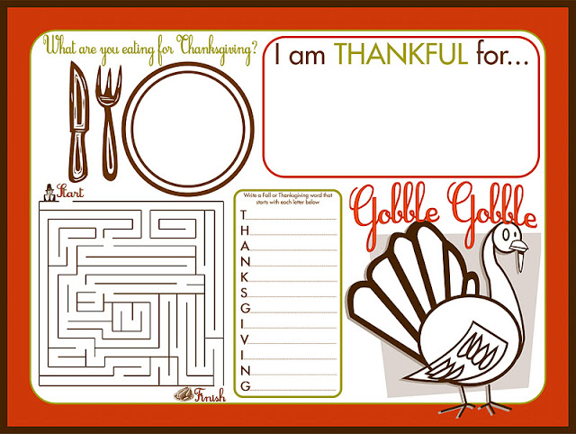 Printable Thanksgiving Placemat - \