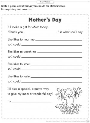 Free Printable Fill in the Blank Mother\u0027s Day Poem \