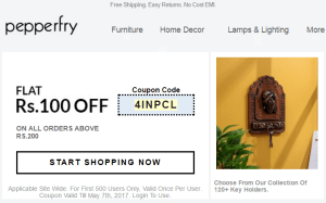 pepperfry get Rs 100 off on Rs 200 or more