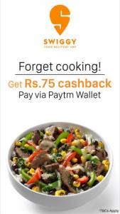 Swiggy- Get Rs 75 cashback