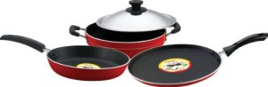 Buy Pigeon Rapido Induction Base Non-Stick Cookware Gift Set, 4 Pieces, Red at Rs 1,124 Only