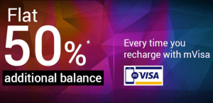 tatasky get 50 additional balance on recharge with mVisa