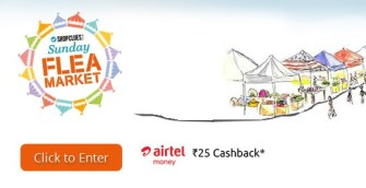 Shopclues Sunday Flea Market- Get flat Rs 25 cashback + Rs 50 cashback on Bookmyshow via Airtel Money