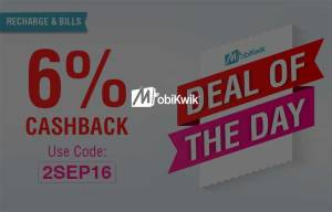 Mobikwik Get 6 cb on recharge of Rs 10 or more