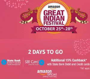 amazon-great-indian-festival-sale-25th-28th-october-15-cashback-with-sbi