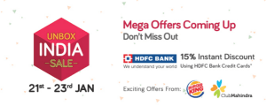 snapdeal unbox india sale 21st January 15 discount with HDFC Credit cards