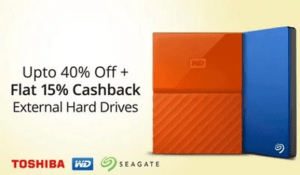 paytm hard disks at discounts + 15 extra cashback + movie ticket
