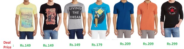 Amazon - Flat 70% off on Mens Branded T-shirts