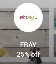 Get 25% Off Upto Rs.500 On Ebay