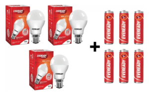 Eveready 9W LED Bulb Pack of 3 with Free 6 Batteries