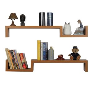 Amazon - Buy Forzza Cooper Set of 2 Wall Shelves (Oak) at Rs 499 only