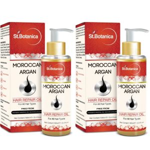 Amazon - Buy St.Botanica Moroccan Argan Hair Repair Oil - 100ml x 2 Pack  at Rs 599 only