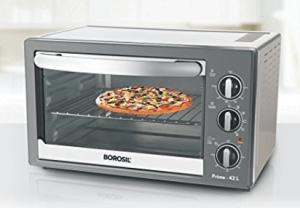 Borosil Prima 42 Liter 2000 Watt Convection Oven Toaster Griller (OTG), Shiny Silver Body