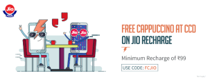Recharge your Jio No. and Get a Cafe Coffee day voucher for one free regular cappuccino