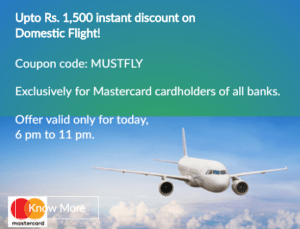 makemytrip save Rs 1500 on flight booking of Rs 5000 6-11 PM 30th march