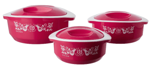 Solimo Sparkle Insulated Casseroles Set with Roti Basket, 3-Piece, Pink
