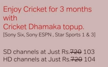 airtel dth cricket dhamaka top up