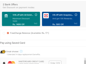 snapdeal flat 10% off payment