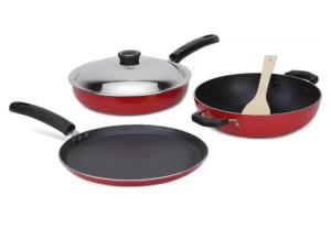 Anjali Cookware Set (PTFE (Non-stick), 4 - Piece) at Rs.266
