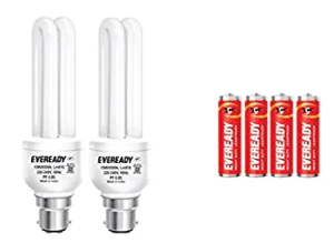 Amazon-Eveready ELD 15-Watt CFL (White, Pack of 2) with free 4 'AA' Batteries at Rs.159 Only