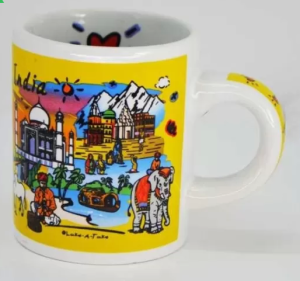 India Souvenirs 4 Oz Yellow with India Subway Design Porcelain Mug (120 ml)