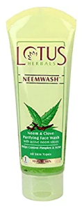 Lotus Herbals Neemwash Neem and Clove Purifying Face Wash with Active Neem Slices, 120g