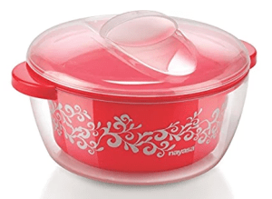 Nayasa Nova Plastic Casserole with Spoon, 1.5 Litres, Red