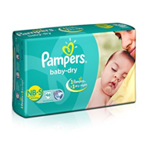 Pampers Baby Dry Diapers NB-Small Size (46 Count) at rs.349