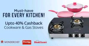 Paytm- Buy Branded Cookwares at upto 50% Off + Extra 40% Cashback