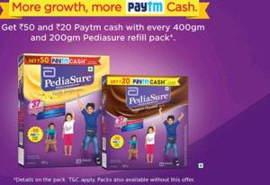 Paytm- Get Rs 50 & Rs 20 on Every 400gm & 200gm Refill pack of Pediasure