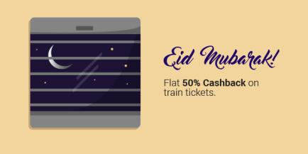 railyatri train 50% cashback EID