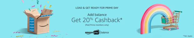 Amazon- Add Balance and Get 20% Cashback (Paid Prime Member Only)