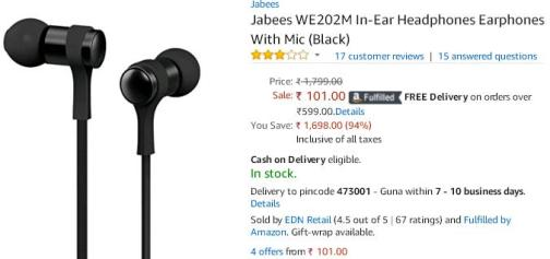 Amazon- Buy Jabees WE202M In-Ear Headphone1