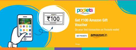 ICICI Pockets- Get Rs 100 Amazon Voucher on First Transaction