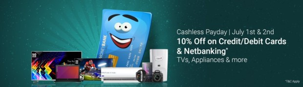 Flipkart- Get Extra 10% Discount on all Debit/Credit Cards and Net Banking Payments