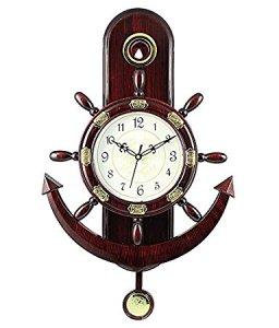 Altra Plastic Pendulum Wall Clock (45 cm x 30 cm x 5 cm, Brown) for Rs 374