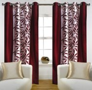 Amazon- Buy Home Candy Leaves Floral 4 Piece Polyester Door Curtain Set – 7ft, Maroon at Rs 499